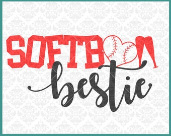 CLN0375 Softball Bestie Best Friend Shirt Friends Family SVG DXF Ai Eps PNG Vector Instant Download COmmercial Cut File Cricut SIlhouette