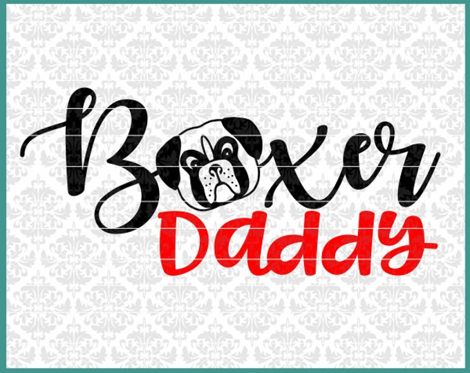CLN0456 Boxer daddy Hand Drawn Boxer Head Dog Dad Momma Mom SVG DXF Ai Eps PNG Vector instant Download commercial Cut File Cricut Silhouette