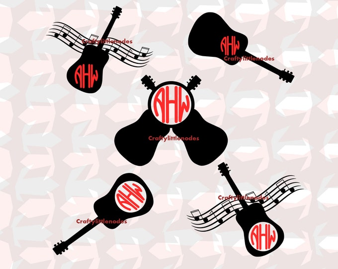 Guitar/Music Monogram Set .SVG .file Scalable Vector instant download commercial use cutting file cricut explore silhouette cameo
