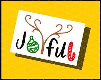 CLN0764 Joyful Christmas Hand Lettered Candy Cane Ornament  SVG DXF Ai Eps PNG Vector Instant Download Commercial Cut File Cricut Silhouette
