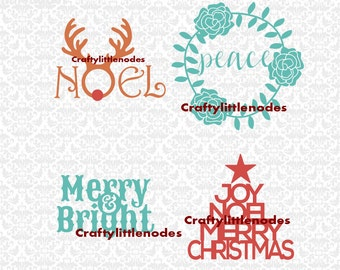 Noel Deer Peace Wreathe Merry & Bright Joy Noel Merry Christmas SVG STUDIO Ai EPS Scalabe Vector Instant Download Commercial use Cutting