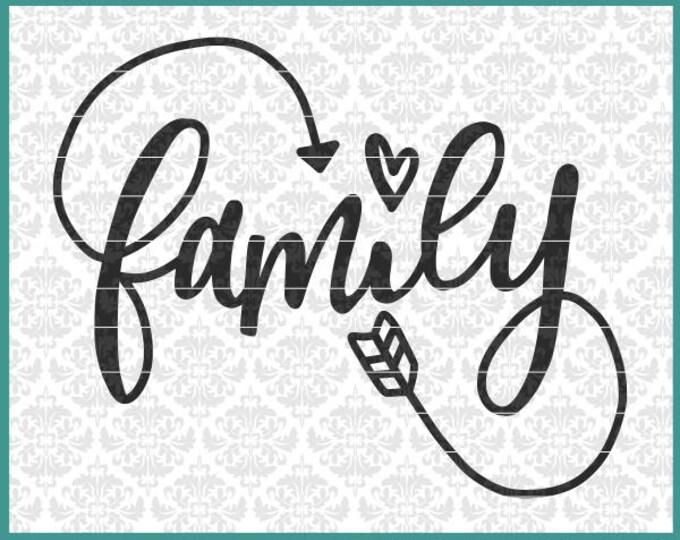 Family svg, Family Infinity Svg, Hand Lettered Svg, Wall Decal Svg, Family sign svg, Wood Sign Svg, Home Decor Svg, Pillow Svg, Wedding Svg