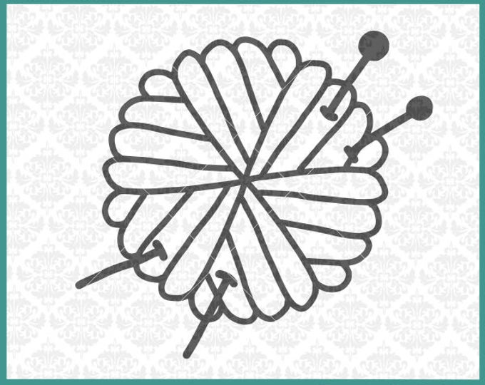 Knitter svg, Knit Ball svg, Ball Of Yarn Svg, Hand Drawn Svg, Yarn Svg, Silhouette, Cricut, Knitting Needles svg, Cut Files, Commercial use
