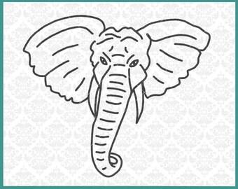 CLN0360 Elephant Line Art Silhouette Elephants Face SVG DXF Ai Eps PNG Vector Instant Download Commercial Cut File Cricut Silhouette