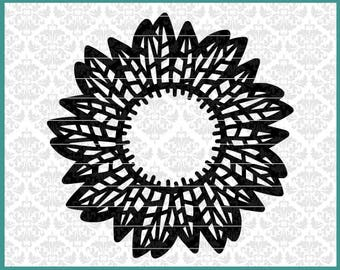 CLN0599 Feather Mandala Monogram Frame Dream Catcher Circle SVG DXF Ai Eps PNG Vector Instant Download Commercial Cut File Cricut Silhouette