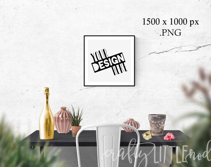 Mockup Mock Up 12 x 12 femine Stylized Photography SVG Blank Printable PNG Garden Boho Desk Wall Chair Wine Blanks Commercial Use Photo