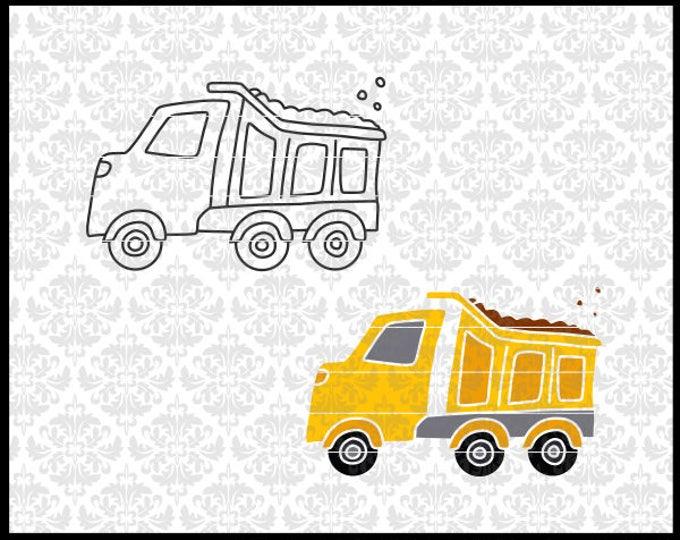 CLN0724AB Dump Truck Boy Construction Designs Toy Kid's Set SVG DXF Ai Eps PNG Vector Instant Download Commercial Cut File Cricut Silhouette