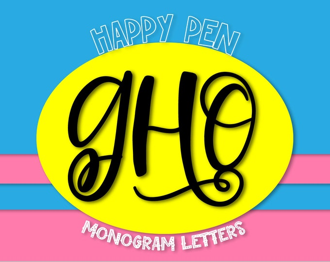 Happy Pen, Monogram Font, Hand Lettered, Letters, Handwriting, hand written, cricut, silhouette, craft fonts, initials, alphabet, monograms