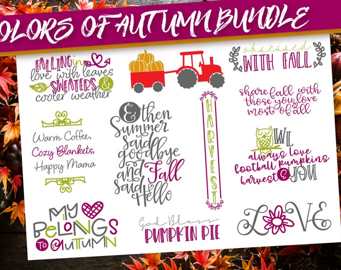 Fall SVG Bundle Set - Autumn, Cricut, Silhouette, Cutting File, Instant Download, Commercial Use, Tractor, Pumpkin, Fall Sign, Farmhouse