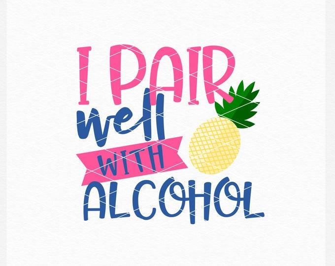 Pineapple, Alcohol, Svg, Shirt Design, EPS, DXF, PNG, Summer, Adult, Summer Design, Summer Svg, Instant Download, Commercial Use, Cricut