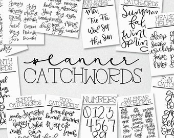 Planner Catchwords - A Font Full Of Catchwords Perfect For Digital Planning And Cutting Machines Like Cricut Silhouette - Bujo Journal OTF