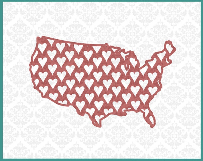 CLN0106 Love Hearts Heart USA America Independence American SVG DXF Ai Eps Png Vector Instant Download Commercial Cut File Cricut Silhouette