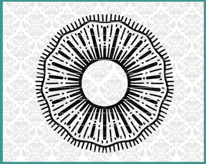 CLN0541 Burst Firework Mandala Monogram Circle Hand Drawn SVG DXF Ai Eps PNG Vector Instant Download Commercial Cut FIle Cricut Silhouette