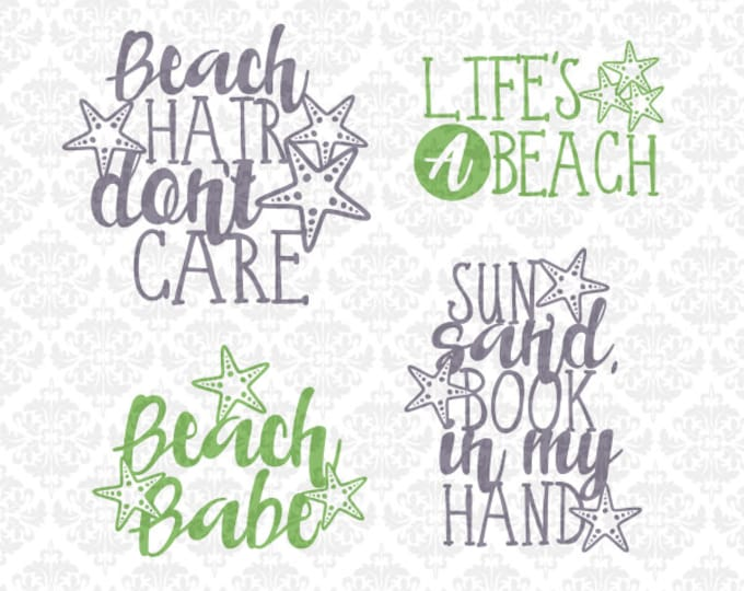 Beach Starfish Sand Babe Book Sun Summer Quote SVG DXF file PNG Ai Eps Vector Instant Download Commercial Cutting File Cricut Silhouette