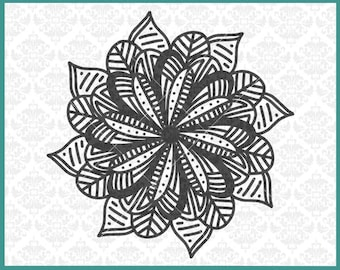 CLN0364 Mandala Zentangle Filigree Flower Petal Sunflower SVG DXF Ai Eps PNG Vector INstant Download Commercial Cut File Cricut Silhouette