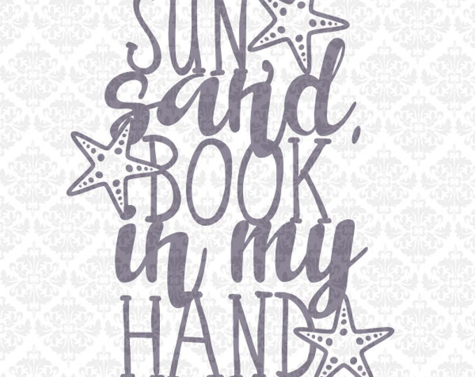 Sun Sand Book in my Hand Summer Beach Life Hair SVG DXF file PNG Ai Eps Vector Instant Download Commercial Cutting File Cricut Silhouette