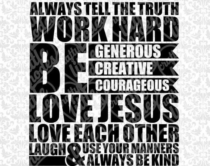 Rules Subway Art - Love Jesus Work Hard SVG file Ai EPS Scalable Vector Instant Download Commercial Use Cutting File Cricut Silhouette