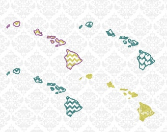 Hawaii State Set Love Chevron Outline Home Heart SVG DXF Ai Eps PNG Scalable Vector Instant Download Commercial Cut File Cricut Silhouette