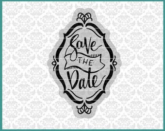 CLN0548 Save The Date Wedding Card Template Hand Lettered SVG DXF Ai Eps PNG Vector Instant Download Commercial Cut File Cricut Silhouette