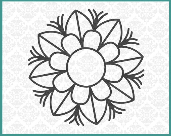 CLN0235 Flower Hibiscus Hawaiian Monogram Floral Leaves SVG DXF Ai Eps PNG Vector Instant Download Commercial Cut File Cricut Silhouette