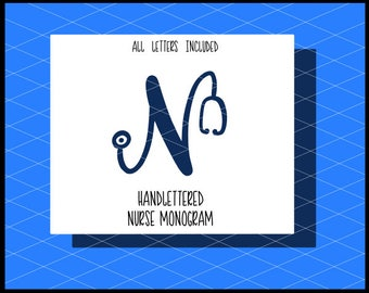 Nurse Monogram Svg, Stethoscope Letters svg, Nurse Svg, Nursing Svg, Nurse gift svg, Stethoscope svg, Stethoscope bell svgs, Cricut, Files
