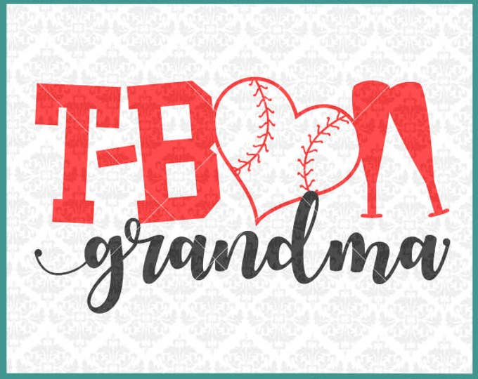 CLN0338 T-Ball Grandma MawMaw Mimi Teeball Kid's Baseball SVG DXF Ai Eps PNG Vector INstant Download Commercial Cut File Cricut Silhouette