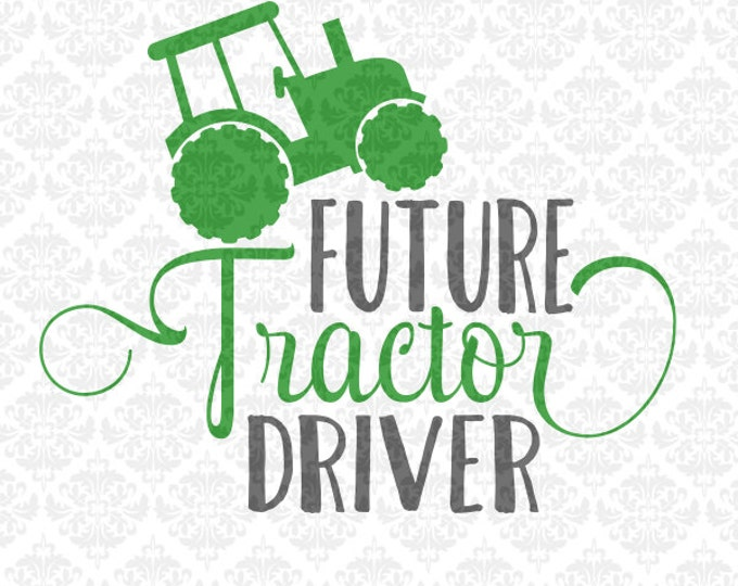 Farmer Farm Tractor Girl Boy Driver SVG DXF file Ai Eps PNG scalable Vector Instant Download Commercial Use Cricut Silhouette Cutting File