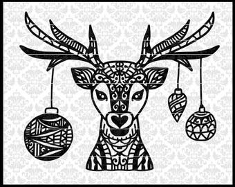 CLN0713A Deer Head Reindeer Ornament Patterned Christmas SVG DXF Ai Eps PNG Vector Instant Download Commercial Cut File Cricut Silhouette
