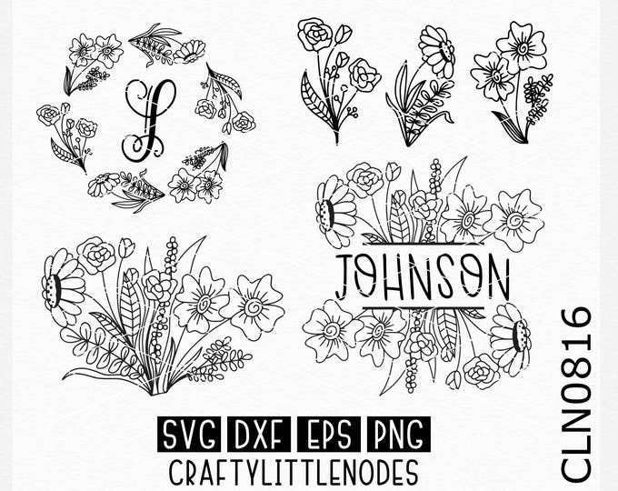 Wedding svg, Monogram svg, Monogram frame svg, split monogram svg, flower svgs, hand drawn svgs, round monogram svg, cricut files, cutting