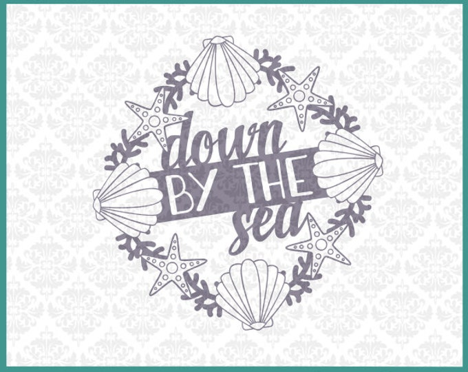 CLN073 Down by the sea Ocean Beach Wreath Sandollar Shells SVG DXF Ai Eps PNG Vector Instant Download Commercial Cut File Cricut Silhouette