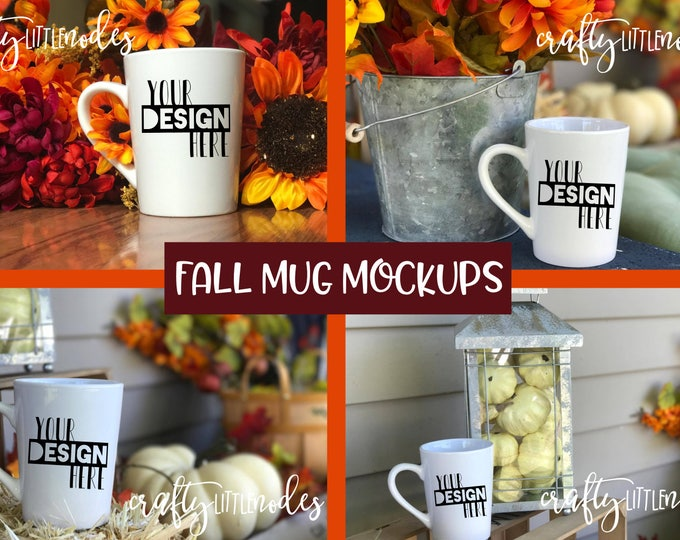 Mockup Fall Autumn Blank Mug Cup Stock Styled Photography Harvest Halloween Picture Photo Pumpkin Flowers Empty White Jpeg Commercial Use