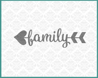 CLN059 Heart Arrow Monogram Words Family Home Love Circle SVG Ai EPS vector instant download commercial use cutting file cricut silhouette