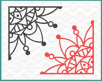 CLN0207 Corner Mandala Laptop Corners Design Edge Boho SVG DXF Ai Eps PNG Vector Instant Download Commercial Cut File Cricut Silhouette