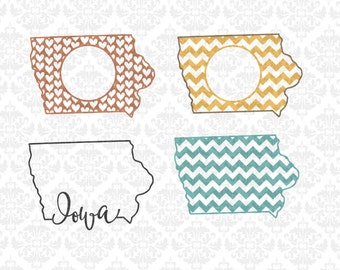 Iowa State Chevron Outline Love Home Hearts Monogram Plain SVG DXF Ai Eps PNG Vector INstant download commercial cut file cricut silhouette
