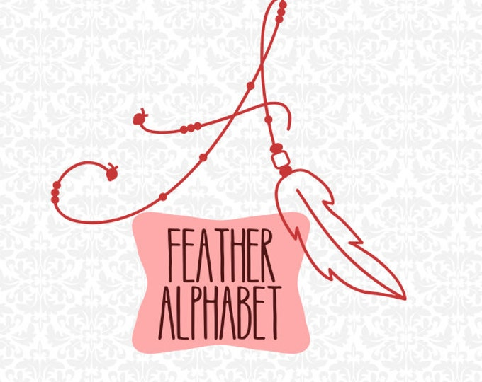 Feather Dreamcatcher Boho Inspired Alphabet SVG file Ai EPS Scalable Vector Instant Download Commercial Use Cricut SIlhouette