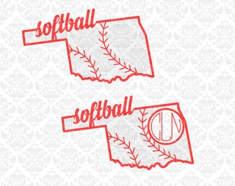 Oklahoma Baseball Laces State Outline Monogram Softball Fast pitch SVG STUDIO Ai EPS Scalable Instant Download Commercial Cricut Silhouette