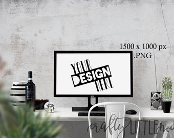 Mockup Mock Up Computer Website  Stylized Photography SVG Blank Printable PNG Garden Boho Desk Wall Chair Wine Blanks Commercial Use Photo