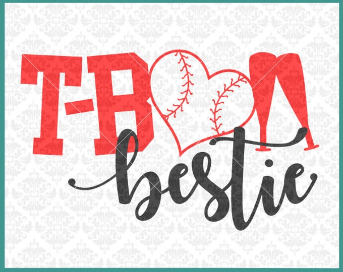 CLN0387 T-ball TeeBall bestie best friend friends Family SVG DXF Ai Eps PNG Vector Instant Download COmmercial Cut File Cricut SIlhouette