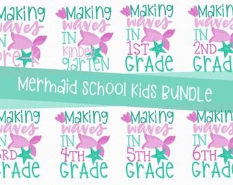 MERMAID Back to School, Bundle, Svg, Preschool, Kindergarten, 1st, 2nd, 3rd, 4th, 5th, grade, shirt, PNG, Sweet, Cutting, Cricut, Silhouette