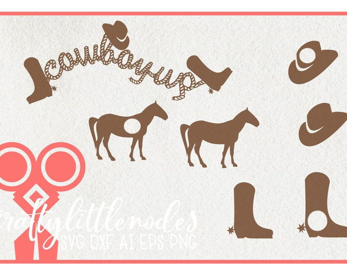Cowboy, Up, Svg, Horse, Boots, Hat, Rope, Country, Decor, Little Boy, Dxf, Ai, Eps, Png, Cricut, Silhouette, Cutting File, commercial use