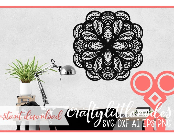 Hand Drawn Mandala Design Intricate SVG Cutting FIle Instant Download DXF PNG Commercial Use for Cricut Silhouette Craft Machine Cutters