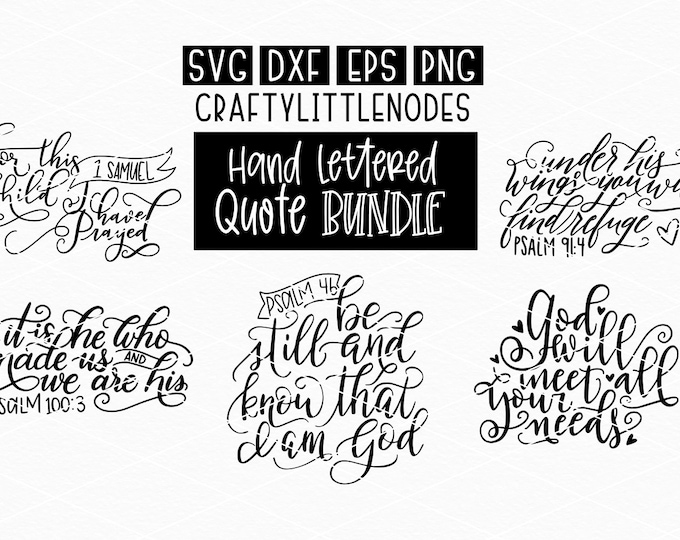 BUNDLE, Hand Lettered, Christian, Bible Verse, Prayer, Svg, Dxf, Png, Ai, Eps, Cutting Files, Cricut, Silhouette, Hand Writing, Religious