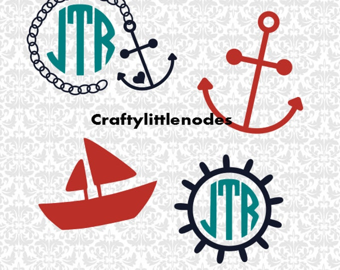 Little Nautical Set Boat Captains Wheel Anchor Monograms SVG file Ai EPS Scalable Vector Instant Download COmmercial Use Cutting FIle
