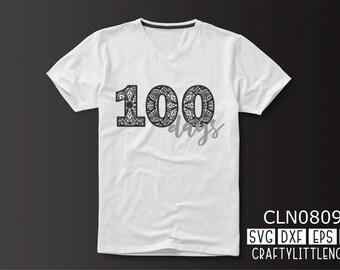 CLN0809 Mandala 100 Days of School Student Shirt Design SVG DXF Ai Eps PNG Vector Instant Download Commercial Cut File Cricut Silhouette