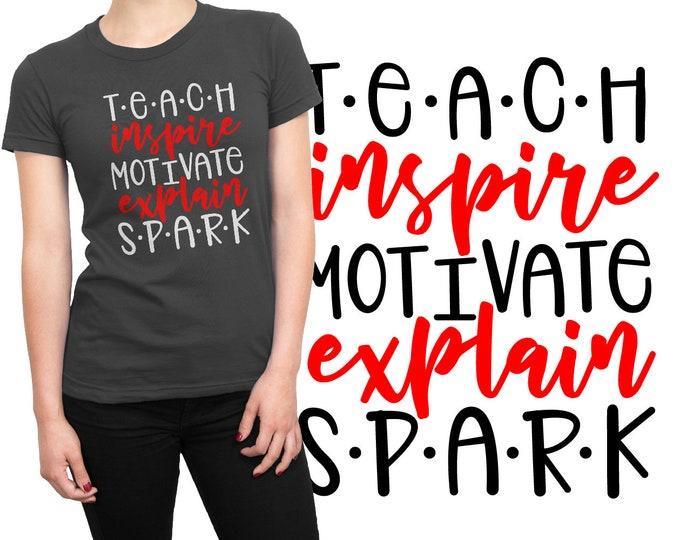 SVG, Teacher, Word Art, Inspire,  School, Teaching, Teach, Gift, Cutting File, Cricut, Silhouette, Shirt Design, Download, Commercial Use