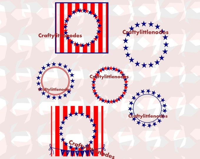 Patriotic Monogram Frames SVG file Ai EPS  Instant Download Silhouette Cricut stars round monogram usa flag freedom patriotic america