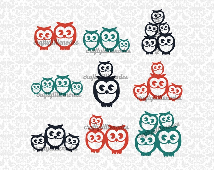 Owl Families Mom Dad up to 3 children sets SVG file Ai EPS Scalable Vector Instant Download Commercial Use Cutting File Cricut Silhouette