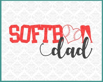 CLN0248 Softball Dad Daddy Father Soft Ball Play Game Heart SVG DXF Ai Eps PNG Vector Instant Download Commercial Cut File Cricut Silhouette