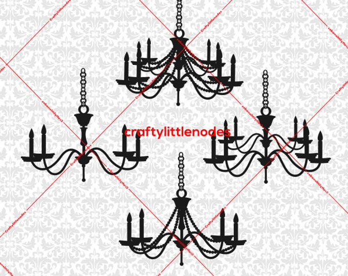 Chandelier Dining Room Fancy Candle SVG file Ai EPS Scalable Vector Instant Download Commercial Use Cutting File Cricut Silhouette