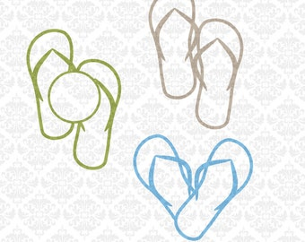 Flip Flop flipflops Heart Chevron Monogram SVG file Ai EPS scalable vector Instant Download Commercial Use Cricut Silhouette